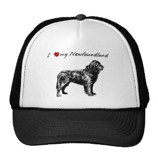 """""""I """"heart"""" my Newfoundland"""" with dog graphic! Trucker Hat"""