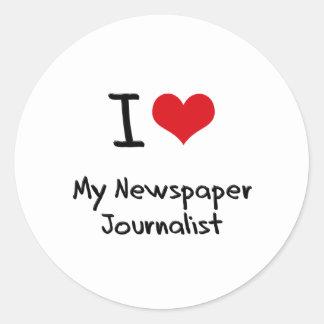 I heart My Newspaper Journalist Round Sticker