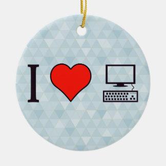 I Heart My Office Ceramic Ornament