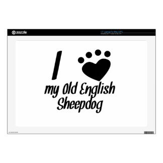 "I Heart My Old English Sheepdog Skin For 17"" Laptop"