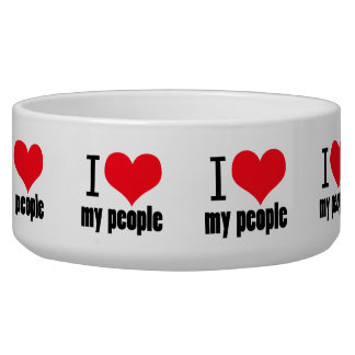 I heart my people design dog water bowls
