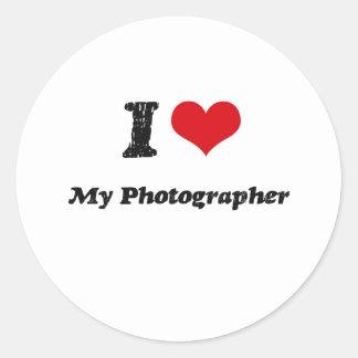 I heart My Photographer Classic Round Sticker