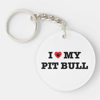 I Heart My Pit Bull Acrylic Keychain