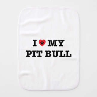 I Heart My Pit Bull Baby Burp Cloth