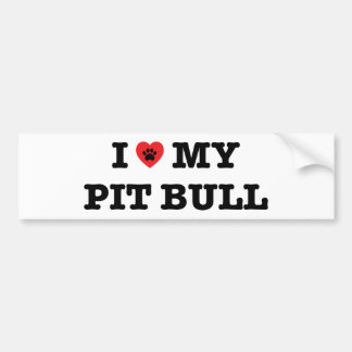 I Heart My Pit Bull Bumper Sticker