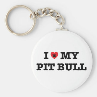 I Heart My Pit Bull Button Keychain
