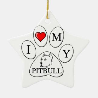 I heart my pit bull paw - dog, pet, best friend ceramic ornament