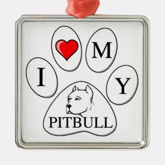 I heart my pit bull paw - dog, pet, best friend metal ornament