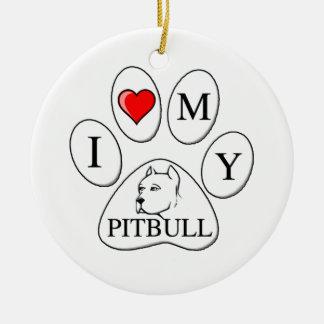 I heart my pit bull paw - dog, pet, best friend ornament