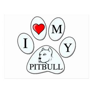 I heart my pit bull paw - dog, pet, best friend postcard