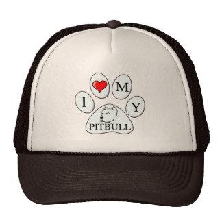 I heart my pit bull paw - dog, pet, best friend trucker hat