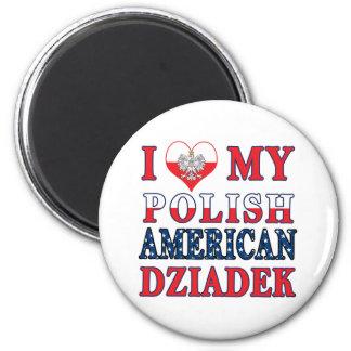 I Heart My Polish American Dziadek 2 Inch Round Magnet