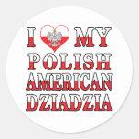 I Heart My Polish American Dziadzia Stickers