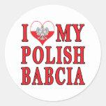 I Heart My Polish Babcia Classic Round Sticker