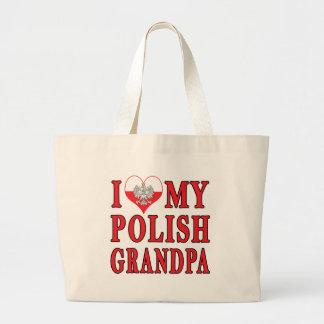 I Heart My Polish Grandpa Large Tote Bag