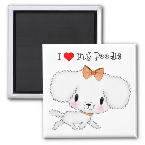 I Heart My Poodle 2 Inch Square Magnet