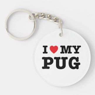 I Heart My Pug Acrylic Keychain