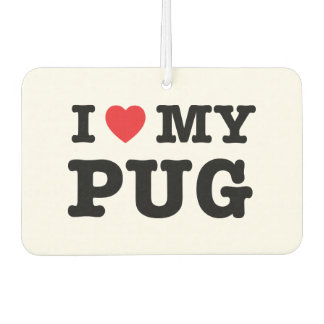 I Heart My Pug Car Air Freshener