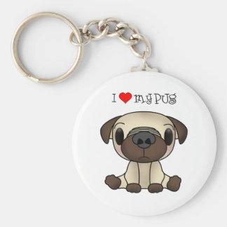 I Heart My Pug Keychain