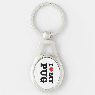 I Heart My Pug Metal Keychain