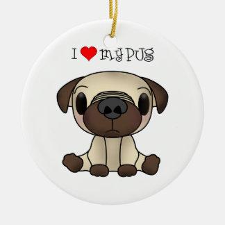 I Heart My Pug Ornaments