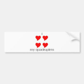 I Heart My Quadruplets Bumper Sticker