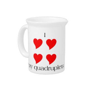 I Heart My Quadruplets Drink Pitcher