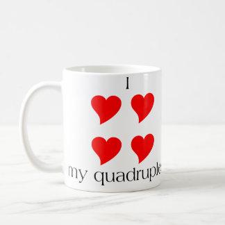I Heart My Quadruplets Classic White Coffee Mug