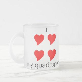 I Heart My Quadruplets 10 Oz Frosted Glass Coffee Mug