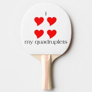 I Heart My Quadruplets Ping Pong Paddle
