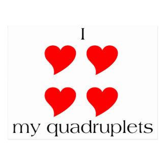 I Heart My Quadruplets Postcard