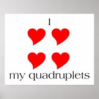 I Heart My Quadruplets Poster