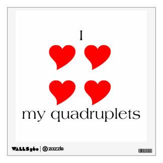 I Heart My Quadruplets Wall Sticker
