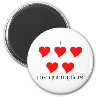 I Heart My Quintuplets 2 Inch Round Magnet