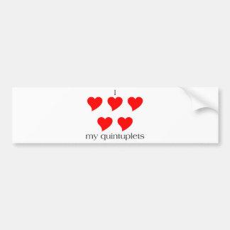 I Heart My Quintuplets Bumper Sticker