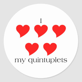 I Heart My Quintuplets Classic Round Sticker
