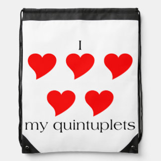 I Heart My Quintuplets Drawstring Backpack