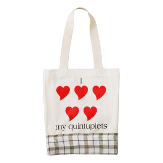 I Heart My Quintuplets HEART Tote Bag