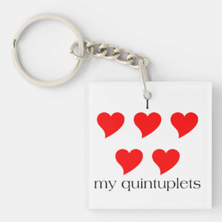 I Heart My Quintuplets Single-Sided Square Acrylic Keychain