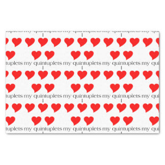 "I Heart My Quintuplets Tissue Paper 10"" X 15"" Tissue Paper"