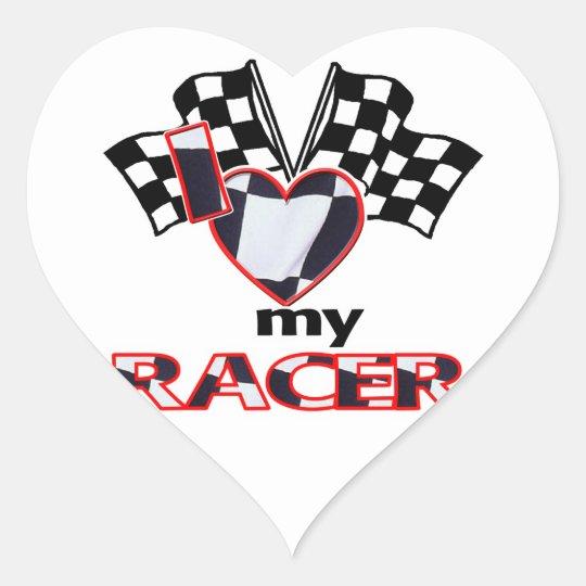 I Heart My Racer Heart Sticker