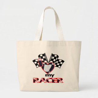 I Heart My Racer Large Tote Bag