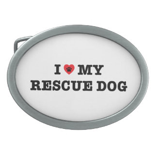 I Heart My Rescue Dog Belt Buckle