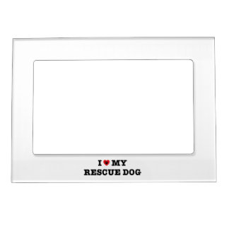 I Heart My Rescue Dog Magnetic Photo Frame
