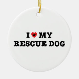I Heart My Rescue Dog Ornament