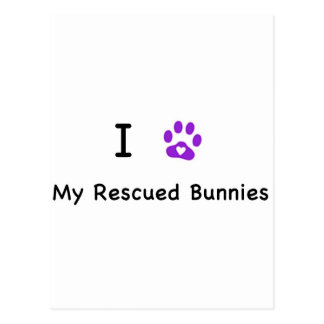 I Heart My Rescued Bunnies Postcard