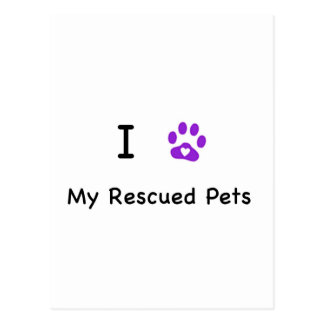 I Heart My Rescued Pets Postcard