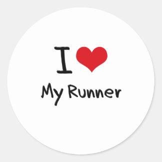 I heart My Runner Round Stickers