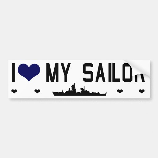 I Heart My Sailor Bumptersticker Car Bumper Sticker