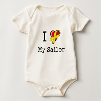 I Heart My Sailor Infant Organic Baby Bodysuit